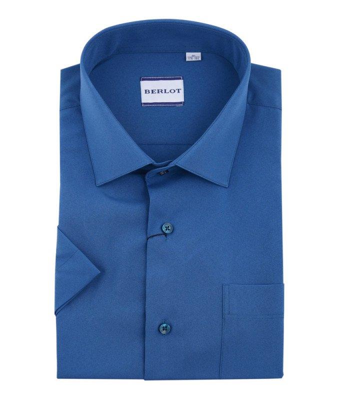Рубашка Berlot синяя, однотонная, классический силуэт, короткий рукав