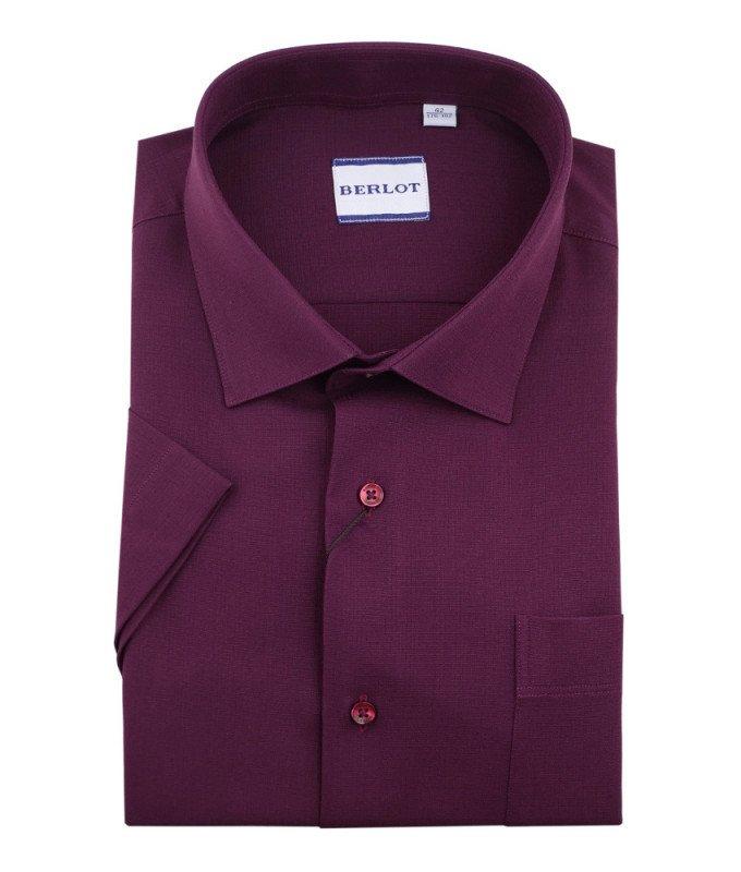 Рубашка Berlot бордовая, однотонная, классический силуэт, короткий рукав