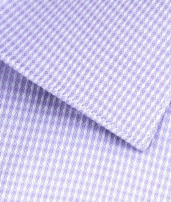 Рубашка Berlot сиреневая, мелкий орнамент, классический силуэт, короткий рукав
