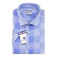 Рубашка Berlot голубая, в полоску, классический силуэт, короткий рукав