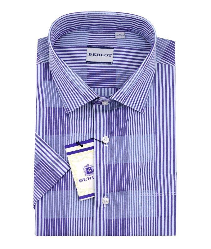 Рубашка Berlot фиолетовая, в полоску, классический силуэт, короткий рукав
