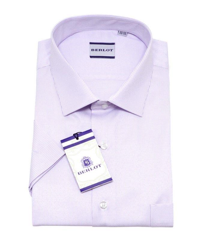 Рубашка Berlot сиреневая, в полоску, классический силуэт