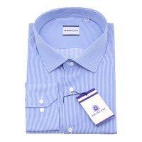 Рубашка Berlot голубая, в мелкую полоску, классический силуэт
