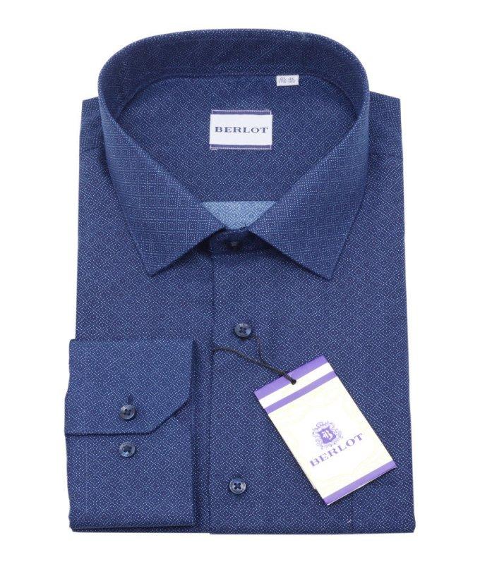 Рубашка Berlot синяя, с узором, классический силуэт