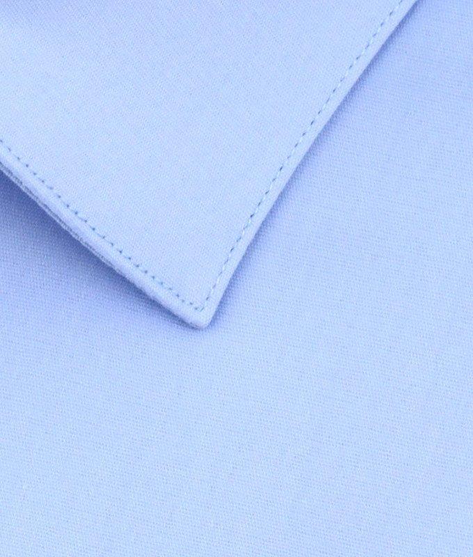 Рубашка Berlot голубая, однотонная, приталенный силуэт, короткий рукав