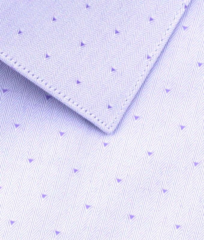 Рубашка Berlot сиреневая, мелкий орнамент, приталенный силуэт, короткий рукав