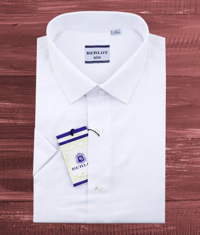 Рубашка Berlot белая, в полоску, приталенный силуэт, короткий рукав