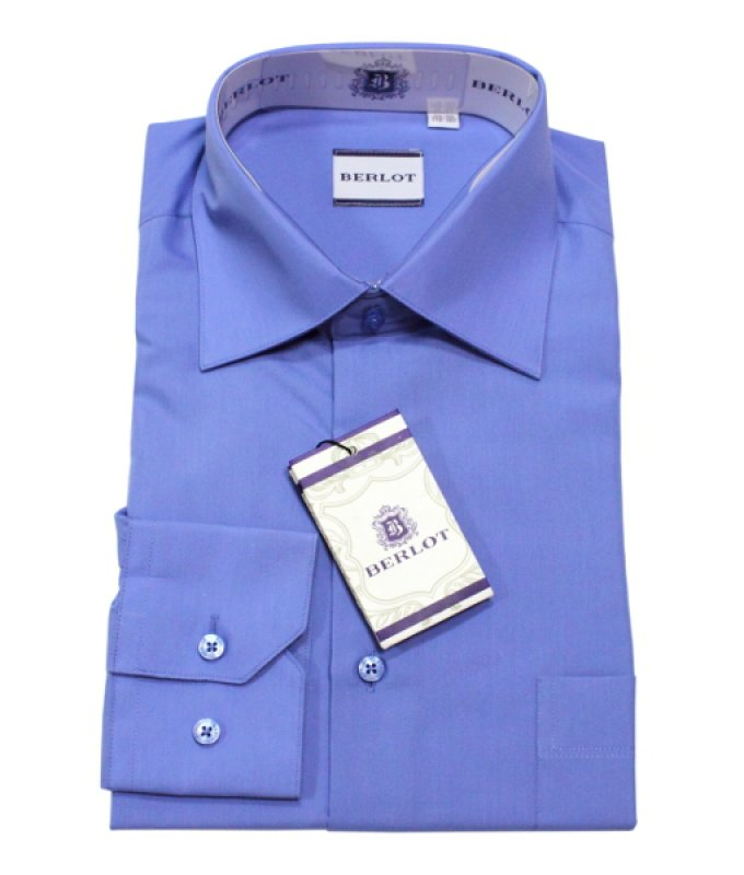 Рубашка Berlot синяя, однотонная, полуприталенный силуэт