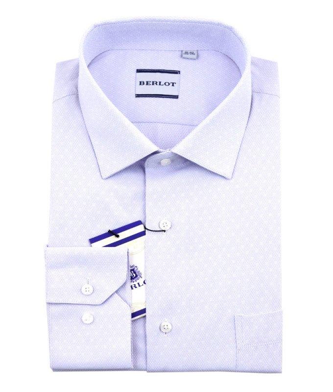 Рубашка Berlot сиреневая, мелкий орнамент, классический силуэт, длинный рукав