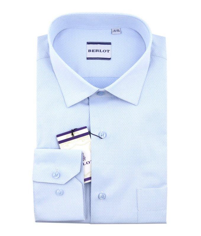 Рубашка Berlot голубая, мелкий орнамент, классический силуэт, длинный рукав