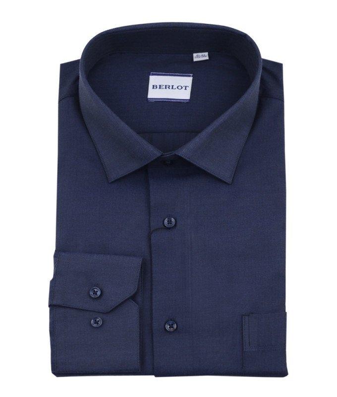 Рубашка Berlot темно-синяя, однотонная, классический силуэт, длинный рукав