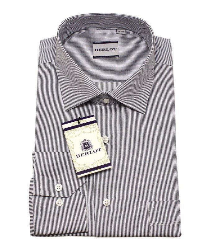Рубашка Berlot серая, в полоску, классический силуэт