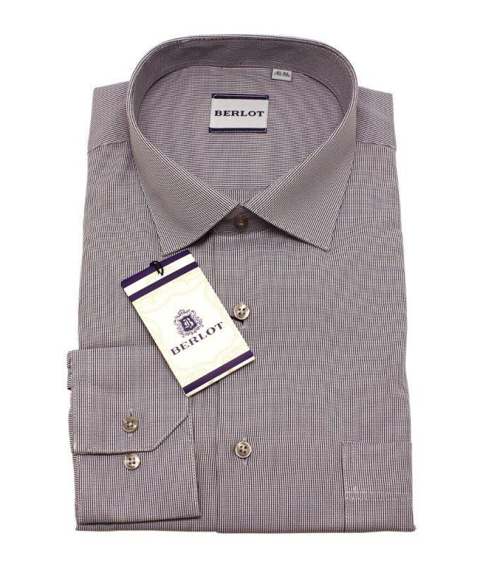 Рубашка Berlot коричневая, мелкий орнамент, классический силуэт