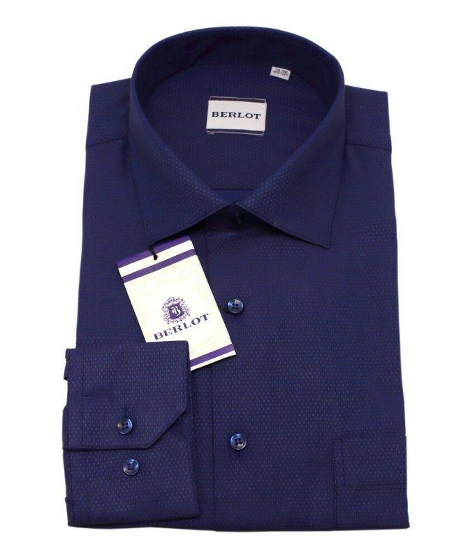 Рубашка Berlot ярко-синяя, однотонная, с выделкой, классический силуэт