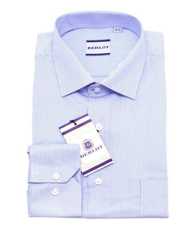 Рубашка Berlot голубая, в полоску, классический силуэт
