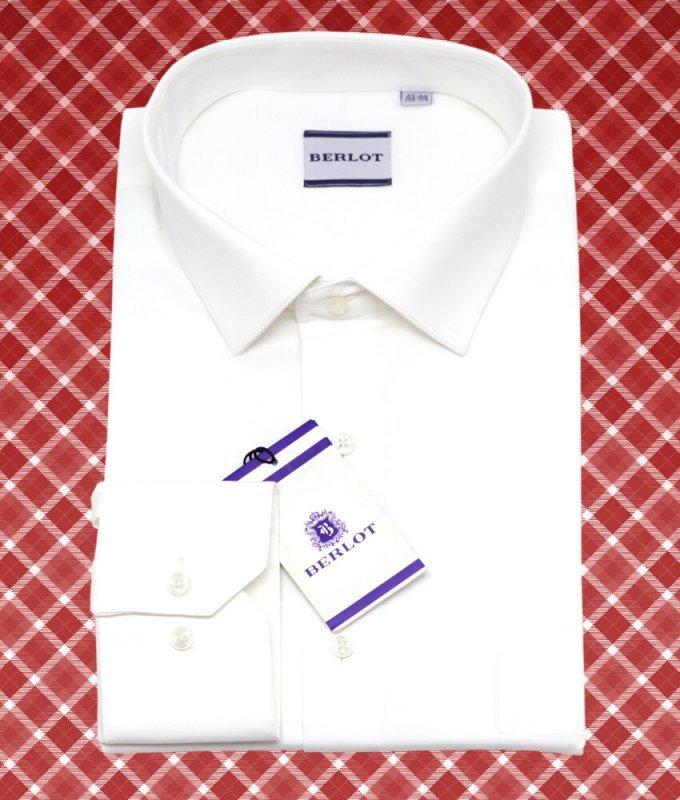 Рубашка Berlot молочная, однотонная, классический силуэт