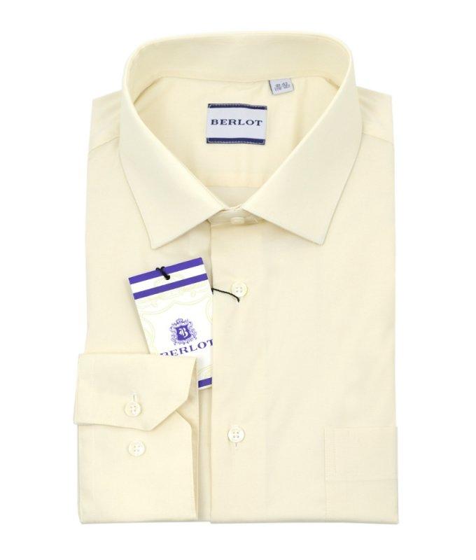 Рубашка Berlot бежевая/молочная, однотонная, классический силуэт, длинный рукав