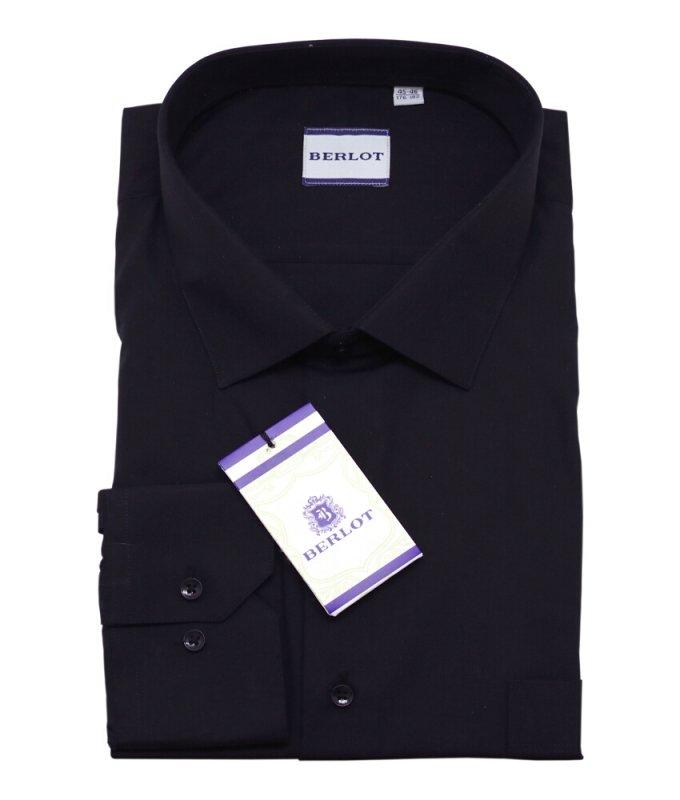 Рубашка Berlot черная, однотонная, классический силуэт
