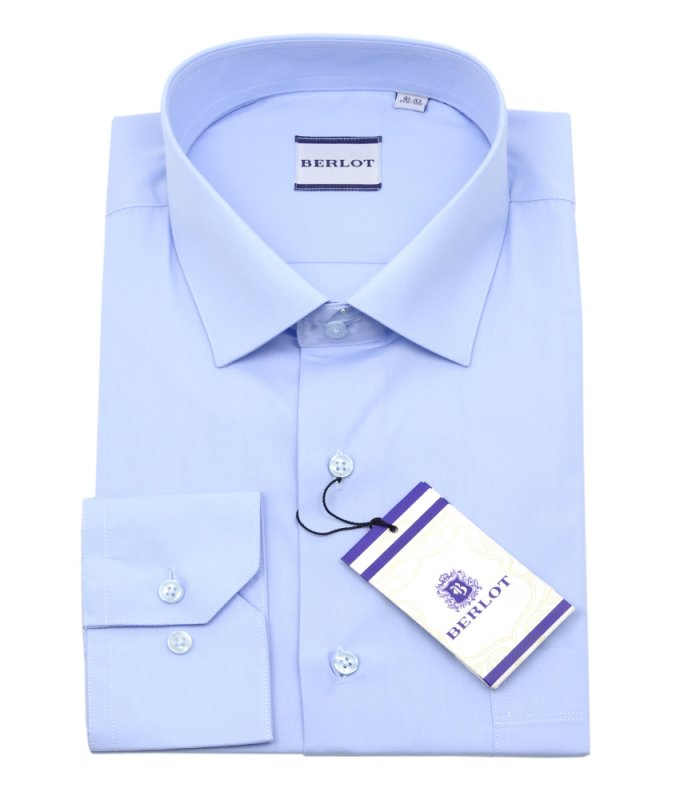 Рубашка Berlot голубая, однотонная, классический силуэт