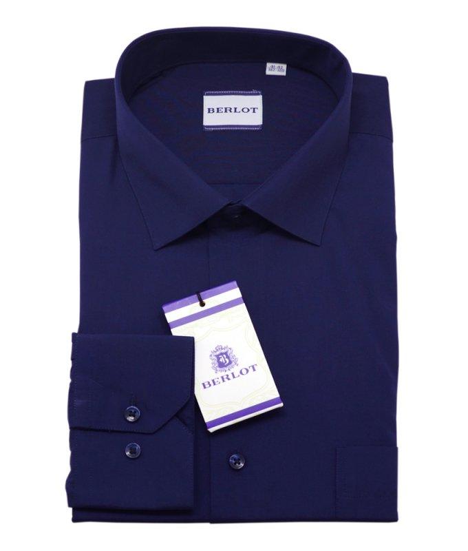 Рубашка Berlot темно-синяя, однотонная, классический силуэт