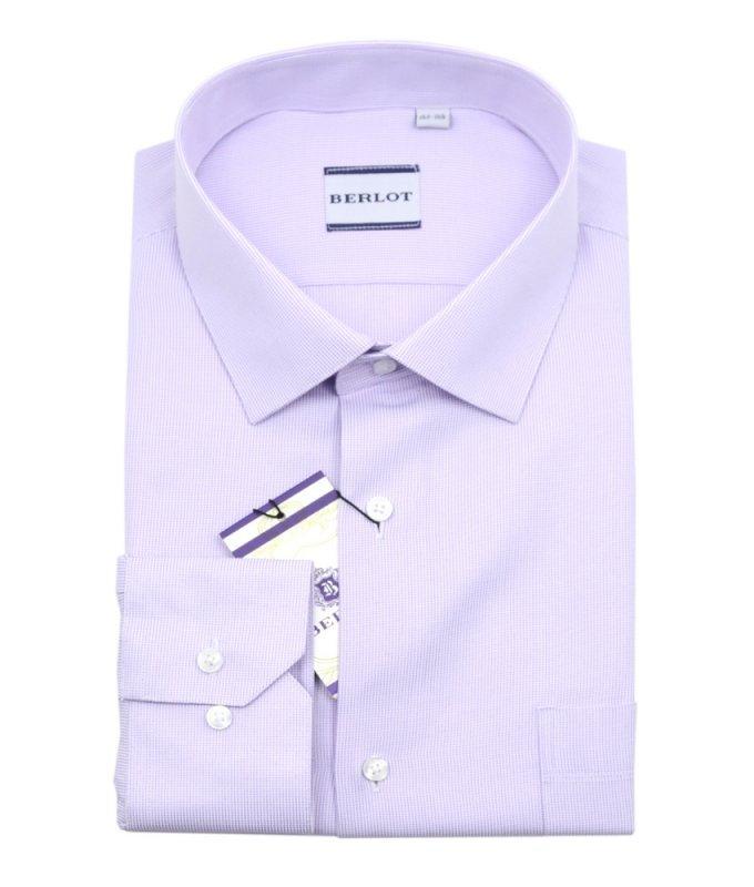 Рубашка Berlot сиреневая, мелкий орнамент, классический силуэт