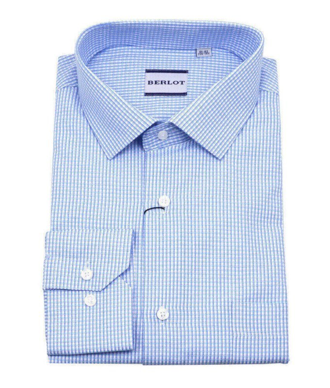 Рубашка Berlot голубая, в клетку, классический силуэт