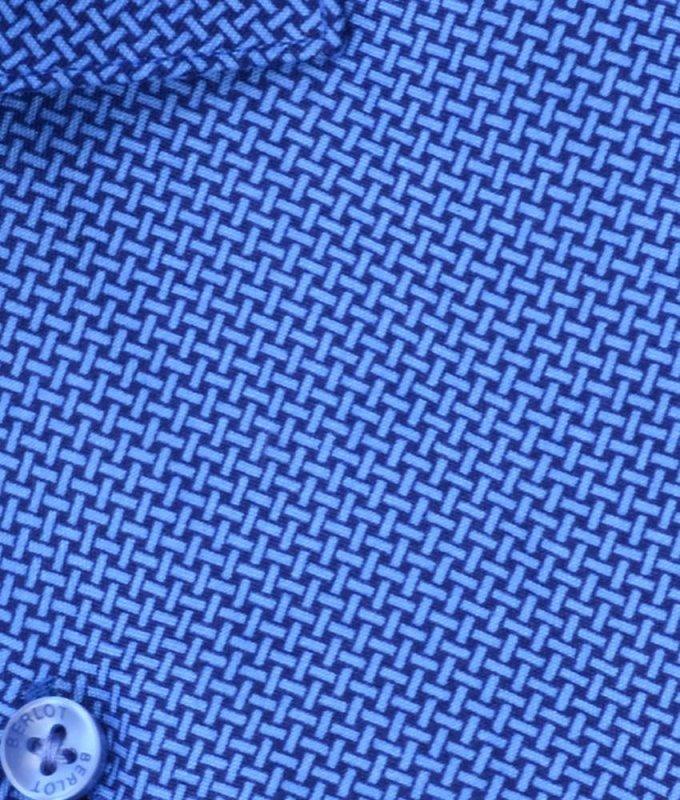 Рубашка Berlot синяя, мелкий орнамент, классический силуэт
