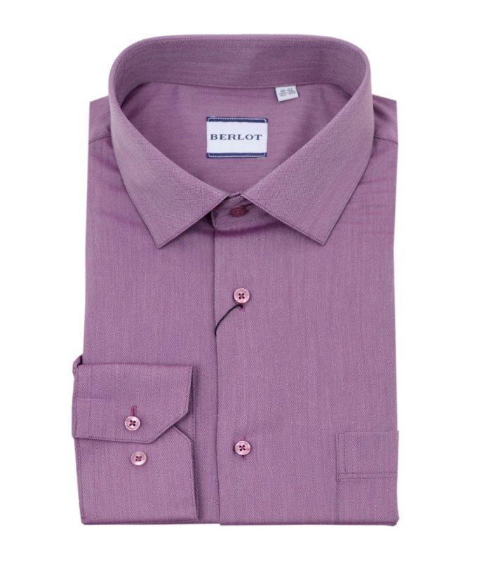 Рубашка Berlot розовая, однотонная, классический силуэт, длинный рукав