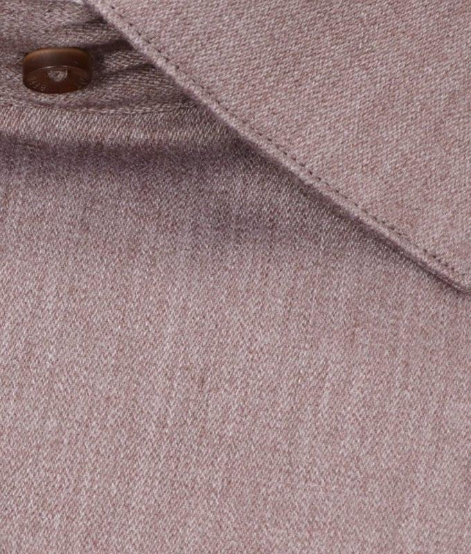 Рубашка Berlot коричневая, однотонная, приталенный силуэт, длинный рукав