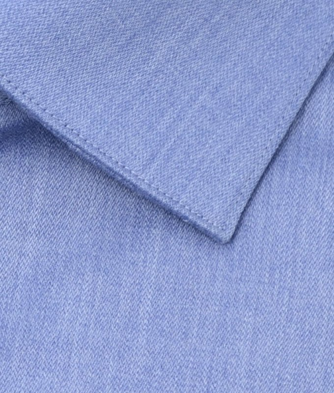 Рубашка Berlot синяя, однотонная, приталенный силуэт, длинный рукав