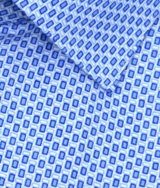 Рубашка Berlot голубая, с узором, классический силуэт, длинный рукав