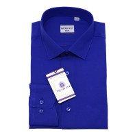 Рубашка Berlot ярко-синяя, однотонная, приталенный силуэт