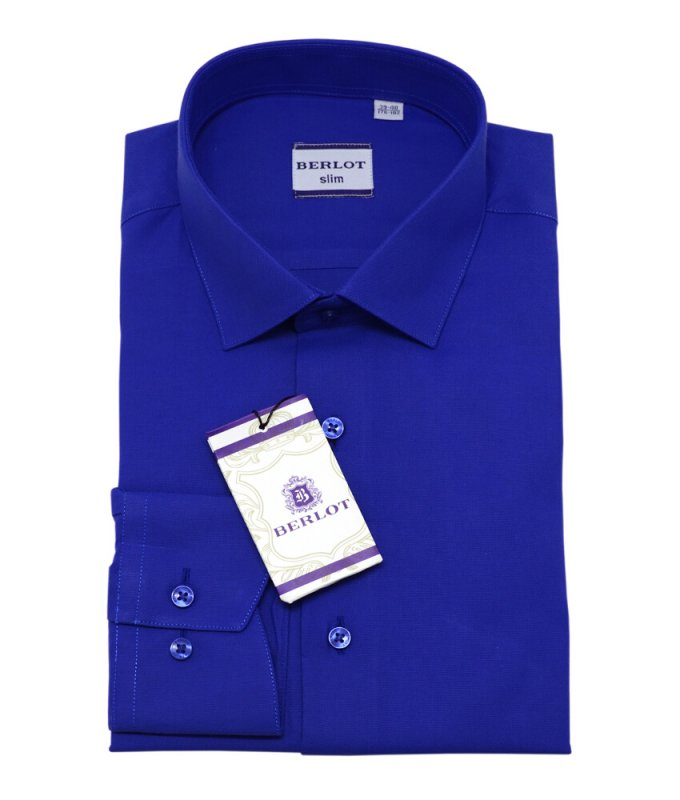 Рубашка Berlot ярко-синяя, однотонная, приталенный силуэт, длинный рукав