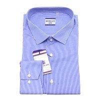 Рубашка Berlot синяя, в полоску, приталенный силуэт