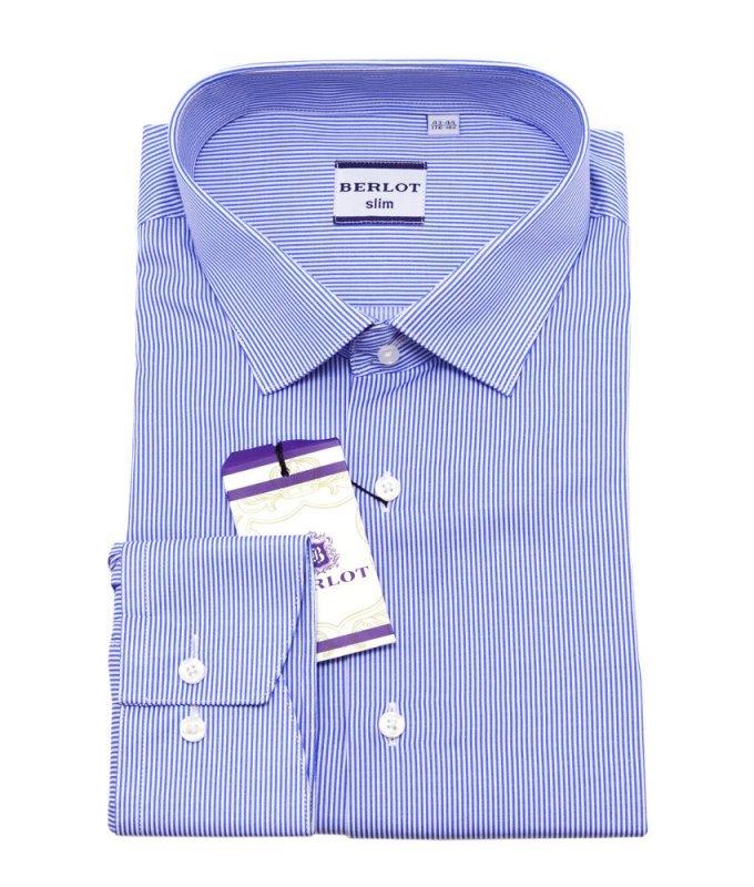 Рубашка Berlot синяя, в полоску, приталенный силуэт, длинный рукав