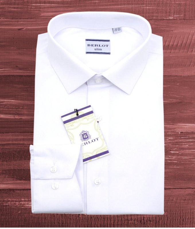 Рубашка Berlot белая, однотонная, приталенный силуэт
