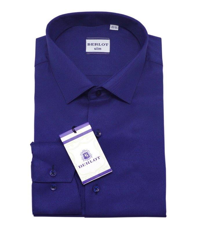 Рубашка Berlot фиолетово-синяя, однотонная, приталенный силуэт, длинный рукав