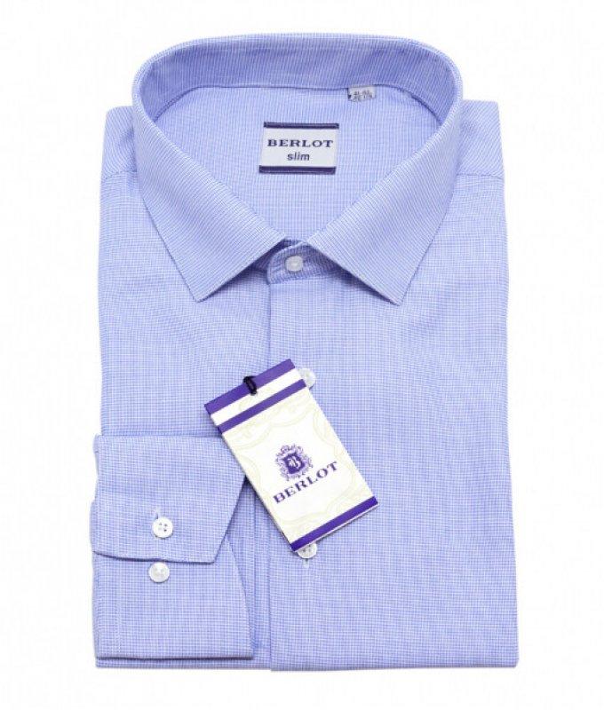 Рубашка Berlot голубая, в клетку, приталенный силуэт