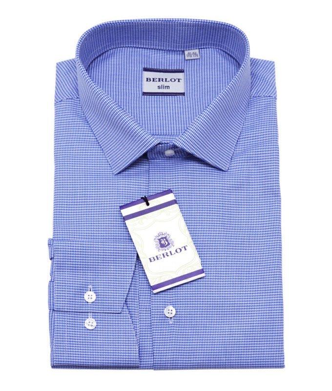 Рубашка Berlot синяя, мелкий орнамент, приталенный силуэт