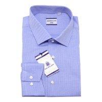 Рубашка Berlot голубая, мелкий орнамент, приталенный силуэт