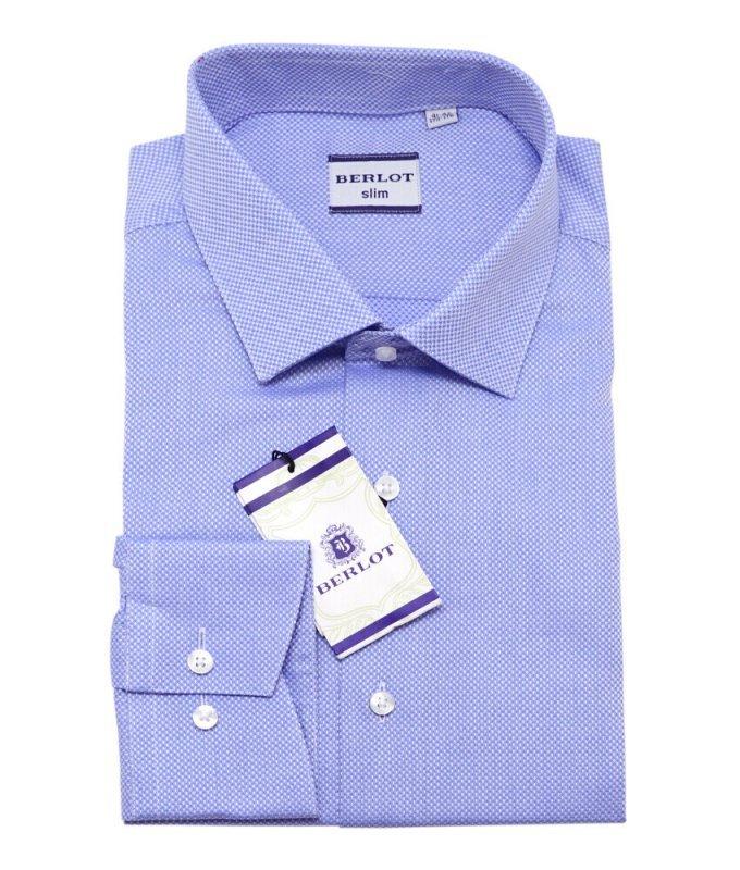 Рубашка Berlot голубая, мелкий орнамент, приталенный силуэт, длинный рукав