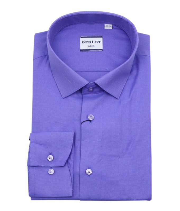 Рубашка Berlot фиолетовая, однотонная, приталенный силуэт