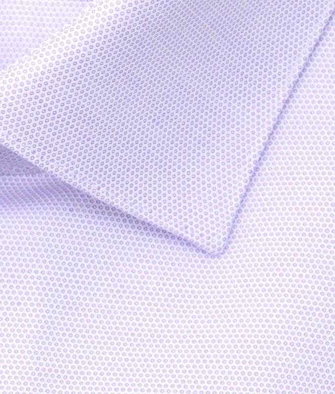 Рубашка Berlot сиреневая, мелкий орнамент, приталенный силуэт, длинный рукав