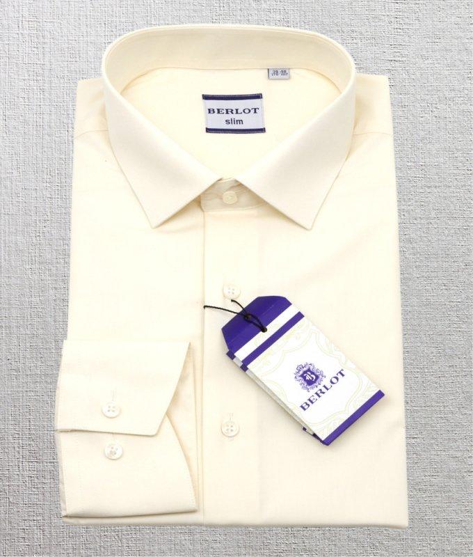Рубашка Berlot бежевая/молочная, однотонная, приталенный силуэт
