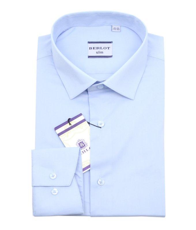 Рубашка Berlot голубая, однотонная, приталенный силуэт