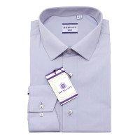 Рубашка Berlot серая, однотонная, приталенный силуэт