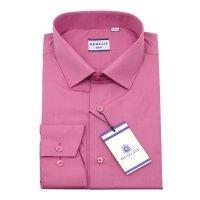 Рубашка Berlot розовая, однотонная, приталенный силуэт, длинный рукав