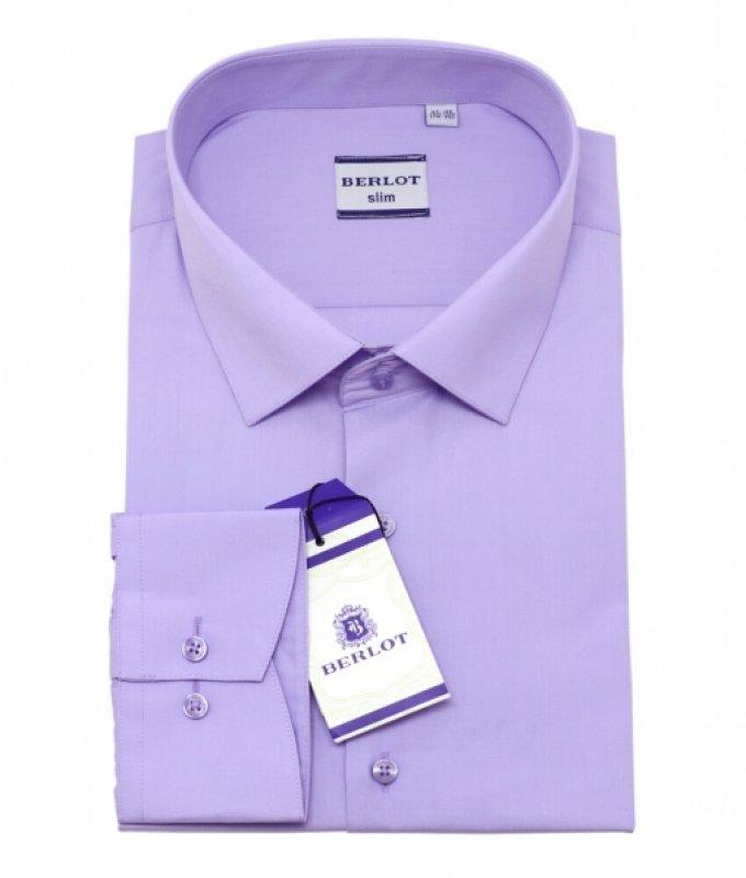 Рубашка Berlot сиреневая, однотонная, приталенный силуэт