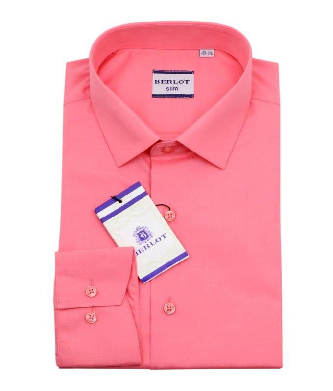 Рубашка Berlot коралловая, однотонная, приталенный силуэт