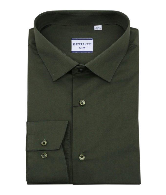 Рубашка Berlot цвета хаки, однотонная, приталенный силуэт, длинный рукав